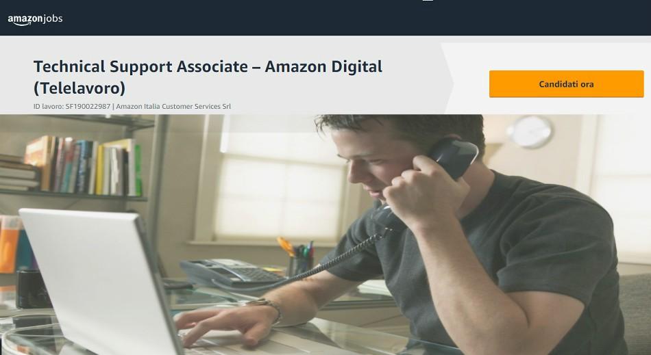 Lavorare da Casa in Telelavoro per l'assistenza Clienti Amazon: Richiesta connessione adsl o fibra e buona velocità dattilografica - Virtual Customer Service Associate