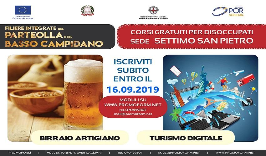 Settimo San Pietro (CA): Corsi gratuiti riservati a disoccupati finanziati dalla regione Sardegna per Birraio Artigiano e Turismo digitale
