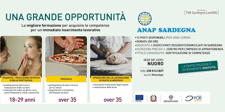ANAP SARDEGNA - Corsi gratuiti per disoccupati: Visagista / Truccatore, Pizzaiolo o Operatore lavorazione paste alimentari