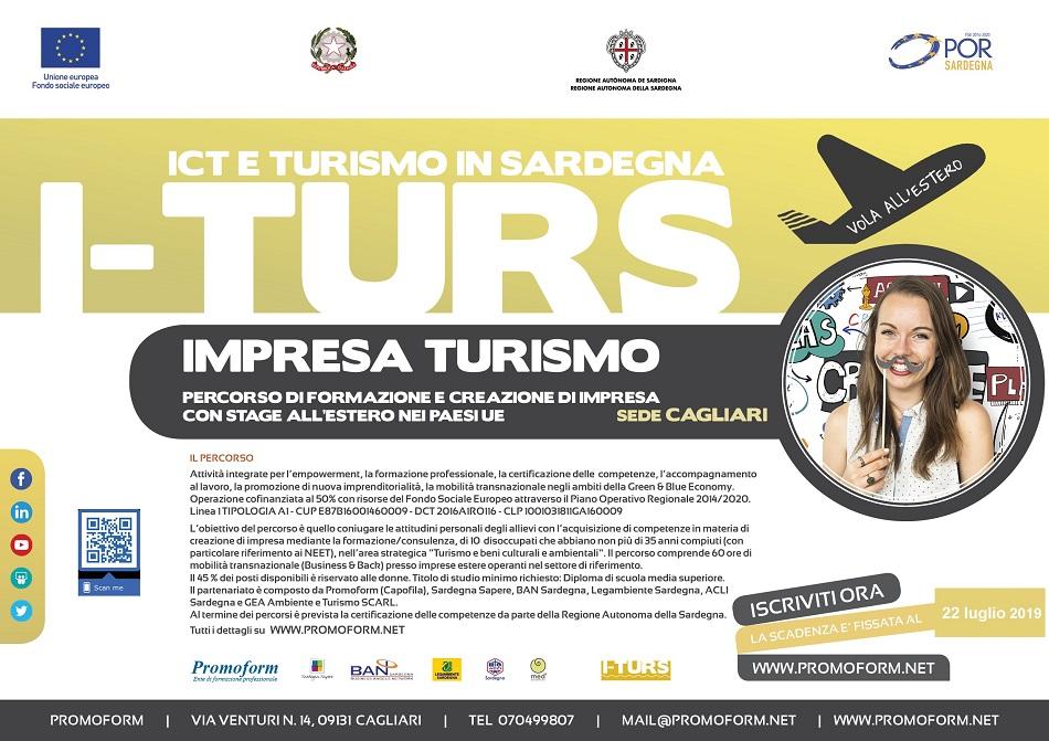 Cagliari: Proroga corso di formazione totalmente gratuito I-TURS con Stage all'Estero - Tecnico per lo sviluppo turistico locale - scadenza 22 Luglio 2019