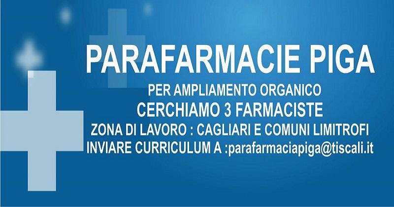 Parafarmacie Piga ricerca 3 farmaciste per Cagliari e comuni limitrofi