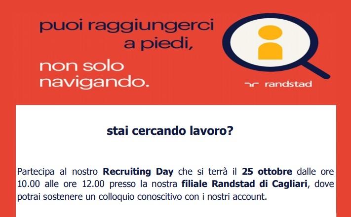Stai cercando lavoro? Arriva un nuovo RandStad Recruiting day - 25 ottobre 2019, colloqui presso la filiale di Cagliari : Ecco tutte le info