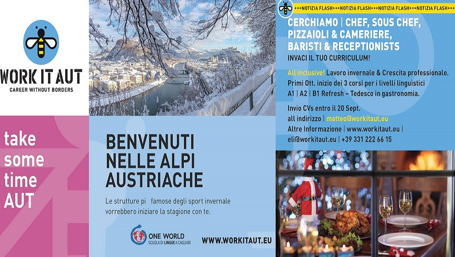 Take some time AUT - Cercasi Personale per stagione Invernale in Austria con Alloggio incluso - Corso di lingue e supporto a Cagliari