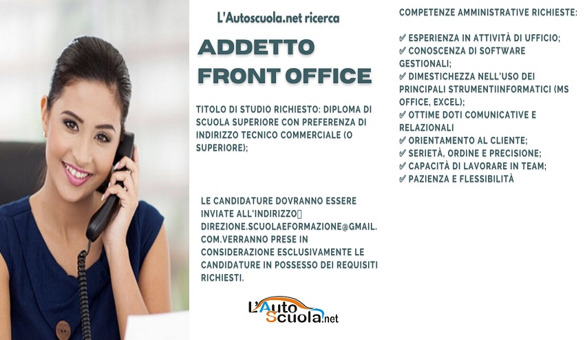 Autoscuola a Sestu ricerca addetto/a front office